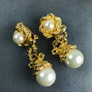 Vintage gold pearl statement earrings